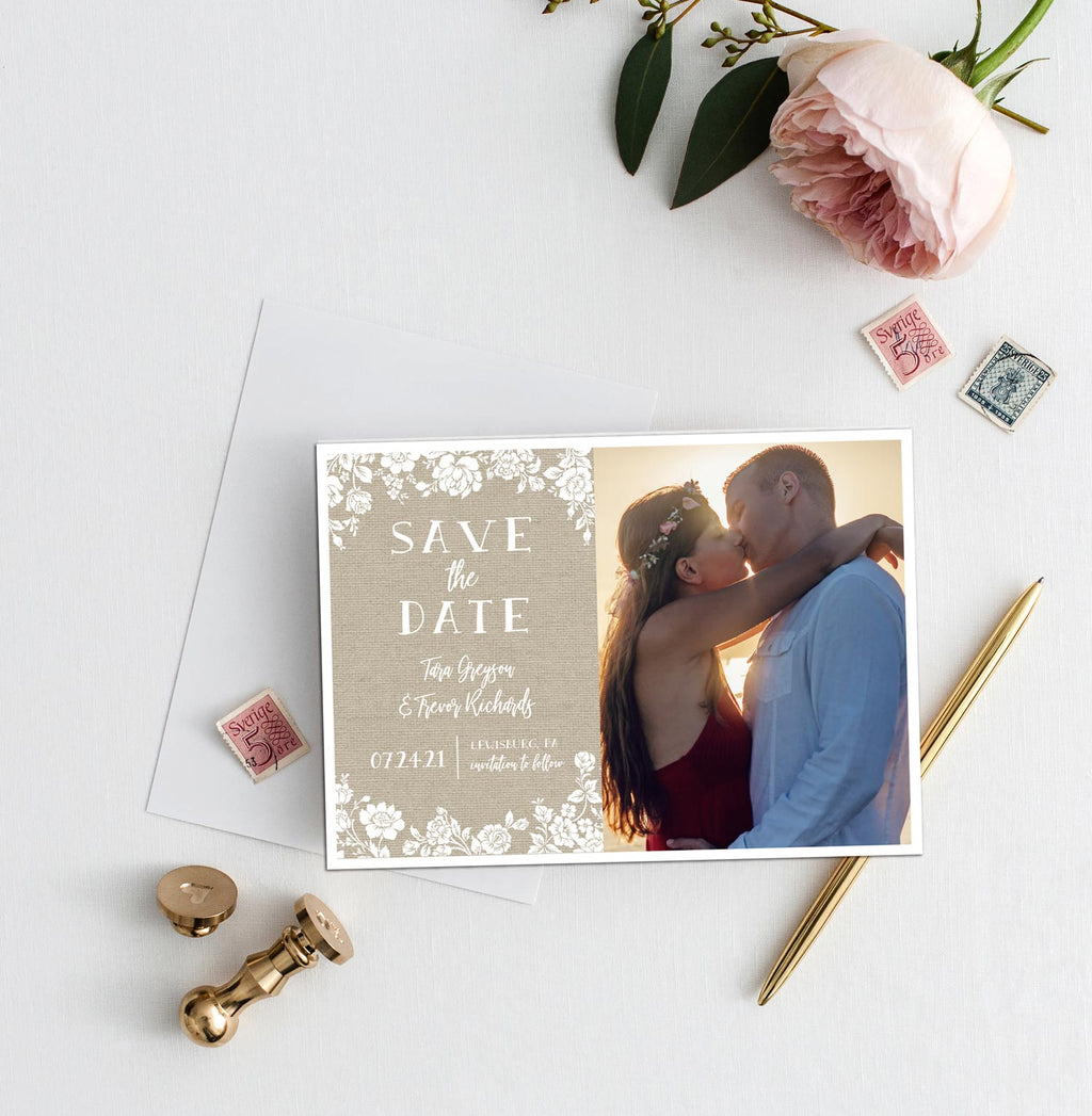 Textured Romance Photo Save the Date Card