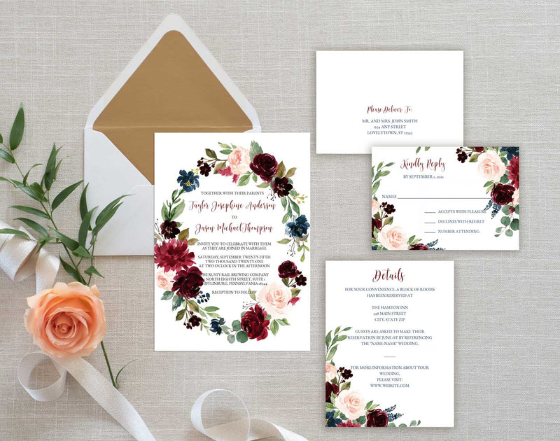 Burgundy and Blush Floral Wreath Wedding Invitation Suite