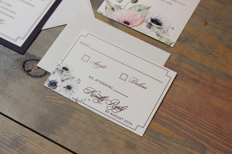 Dark Purple Anemone Wedding Invitation Suite