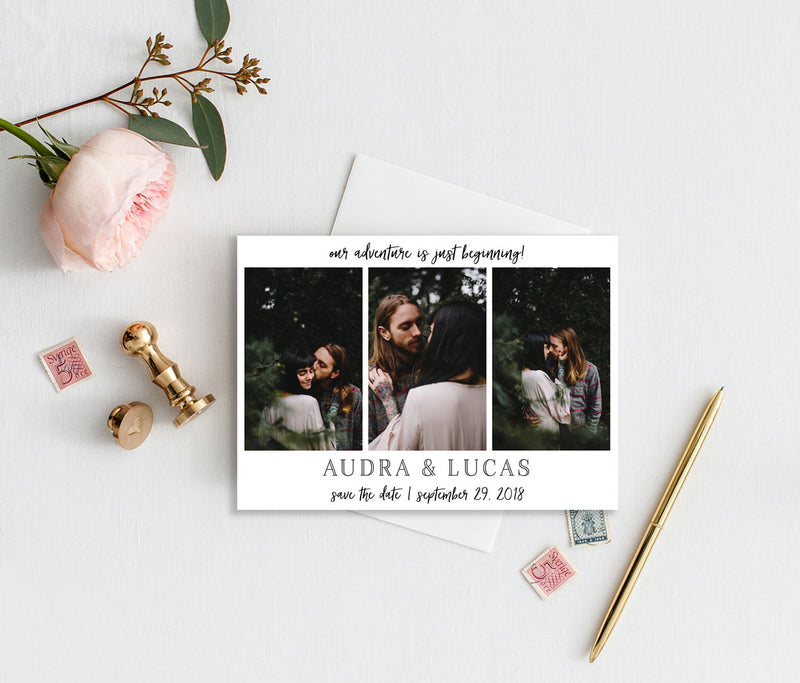 Adventure Begins Photo Save the Date Card