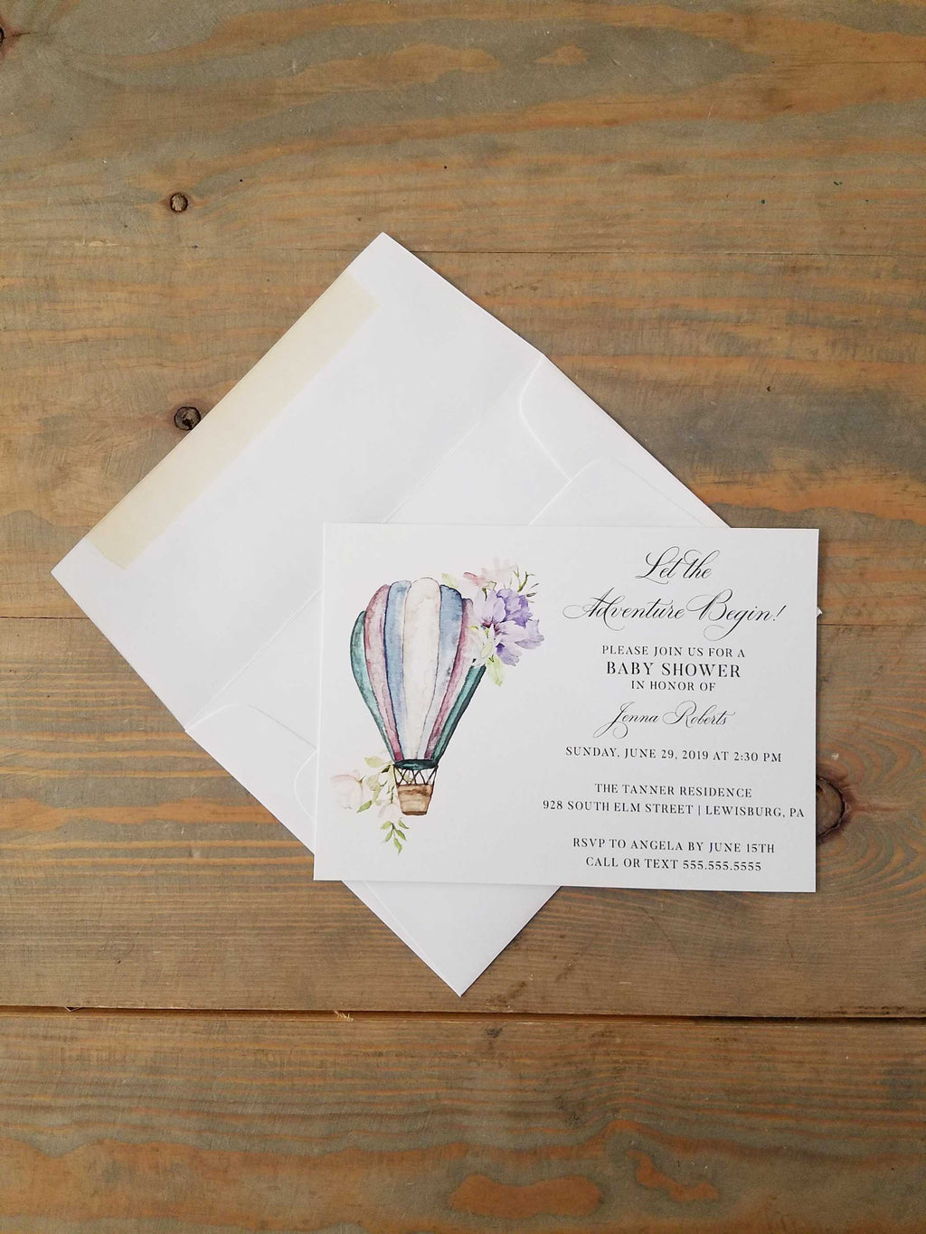 Blue Adventure Hot Air Balloon Baby Shower Invitation