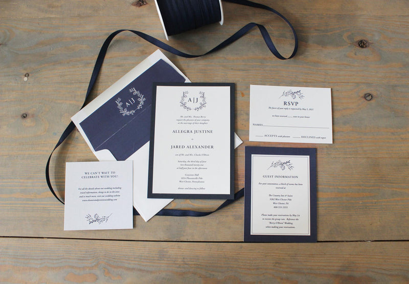 Rustic Navy Blue Monogram Wedding Invitation Suite