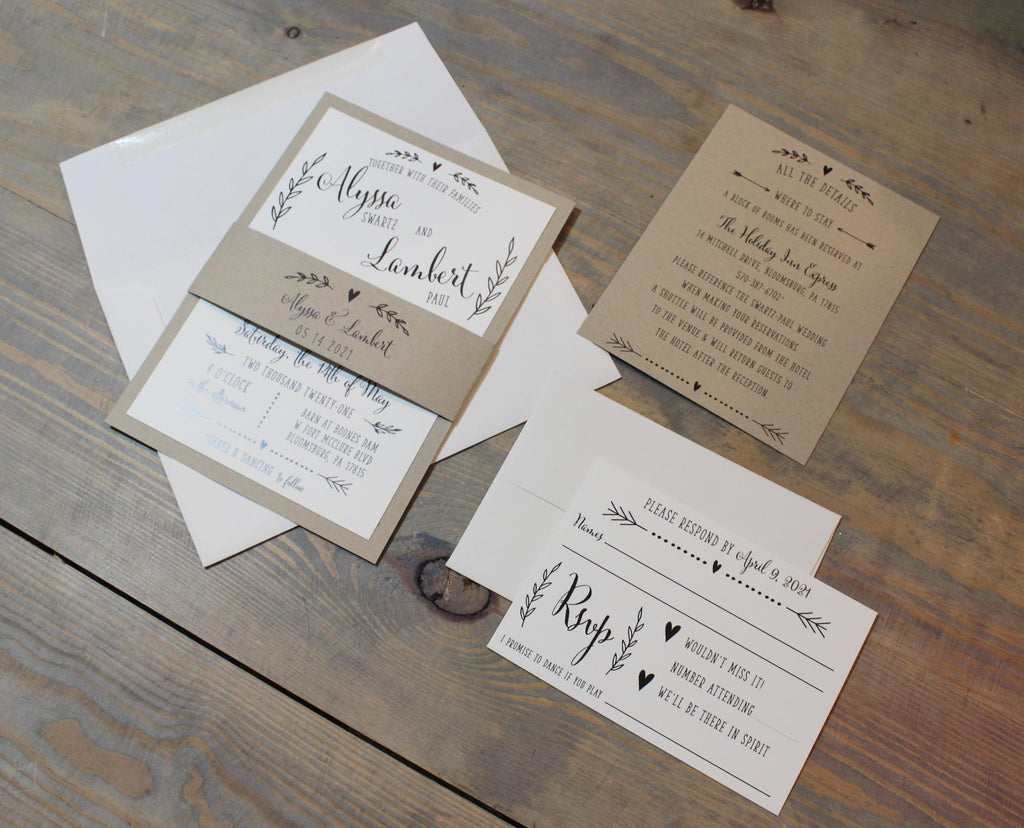 Kraft and Ivory Rustic Boho Wedding Invitation Suite