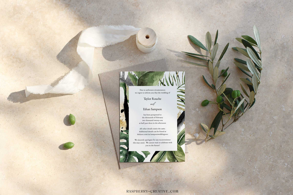 Jungle Greenery and Gold Change the Date Cards