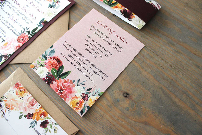 Burgundy Watercolor Wedding Invitation Suite-The Amelia