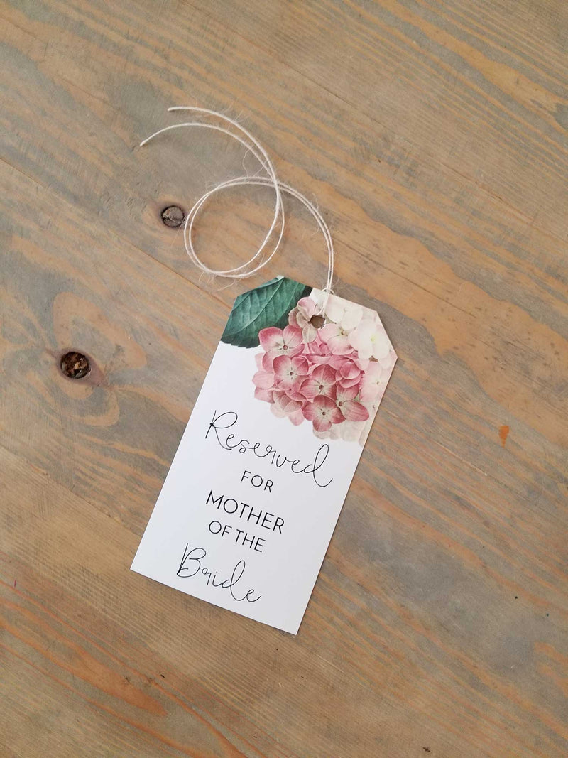 Blush Pink Hydrangea Reserved Seating Tags