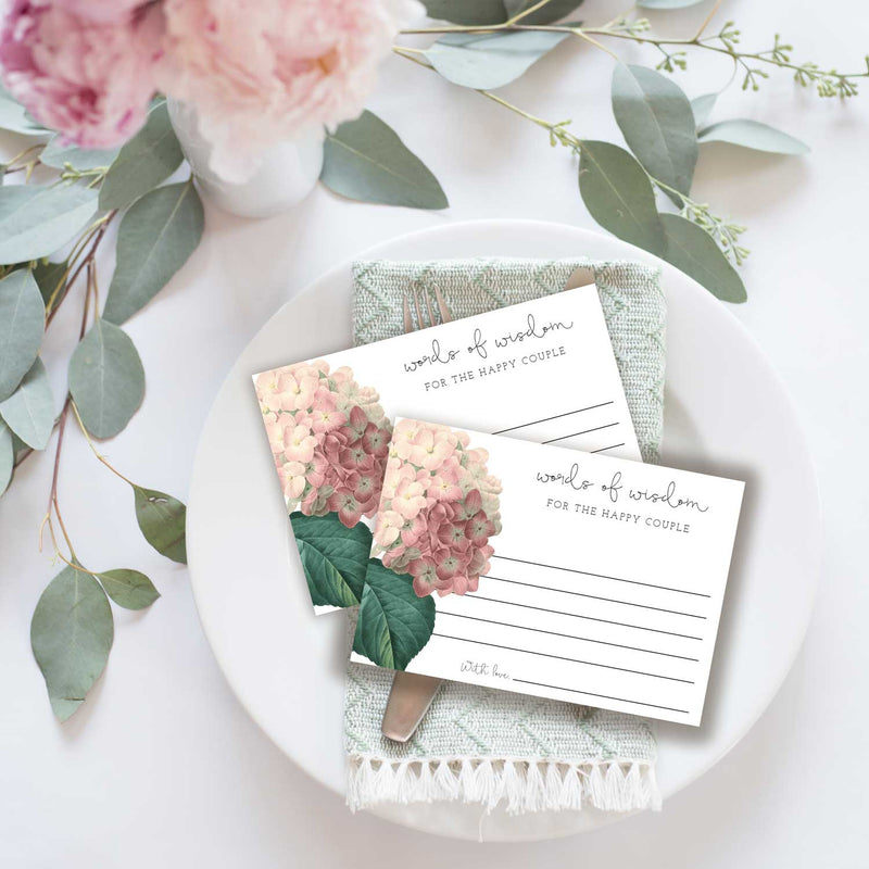 Antique Hydrangea Advice or Words of Wisdom Card for Newlyweds, Graduate or Customize
