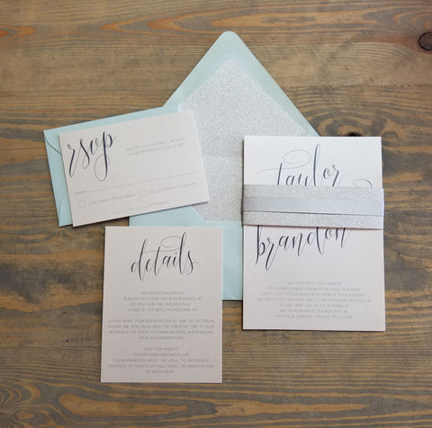 Aqua Sparkle Wedding Invitation