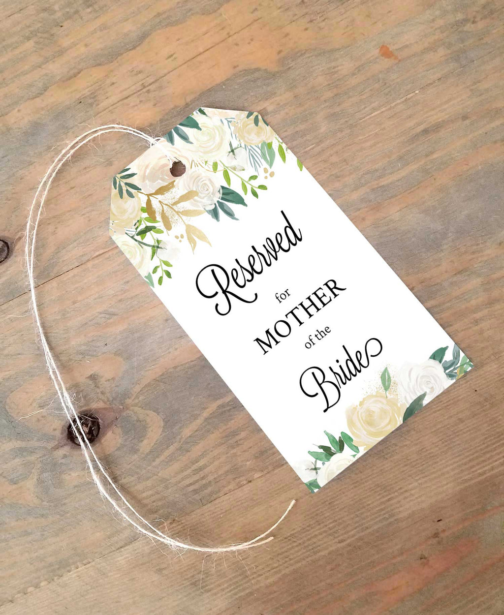 Creamy White Flowers Reserved Seating Tags