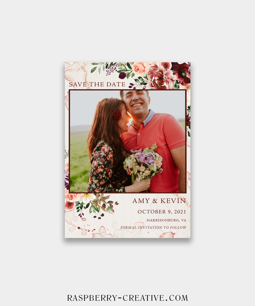 Romantic Burgundy Photo Save the Date Card