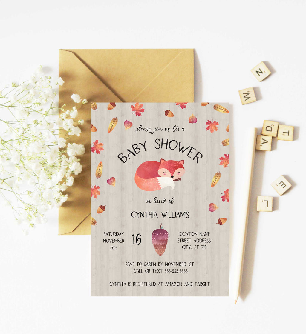 Autumn Baby Fox Woodland Baby Shower Invitation