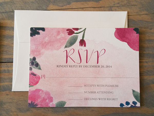 Autumn Bouquet Wedding Invitation with burgundy, pink and purple flowers