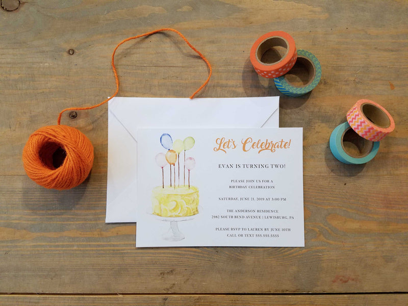Balloon Birthday Cake - Birthday Party Invitation