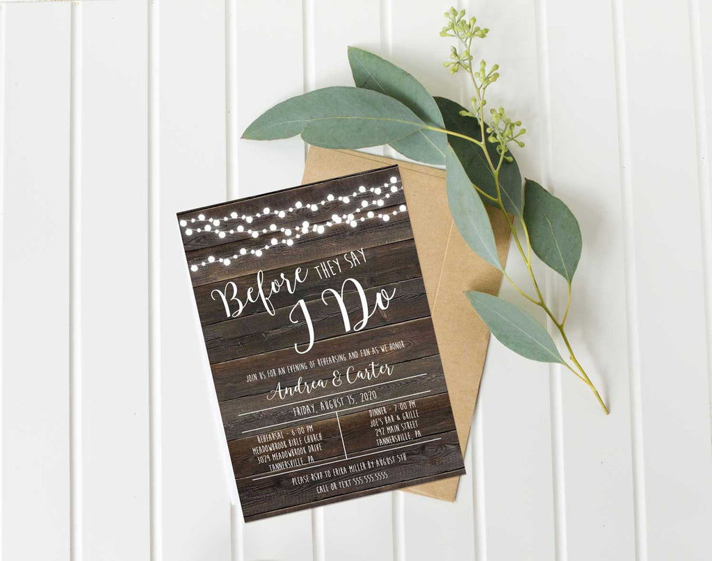 Rustic Wood String Lights Rehearsal Invitation