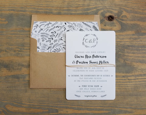 Barn Wreath Rustic Wedding Invitation