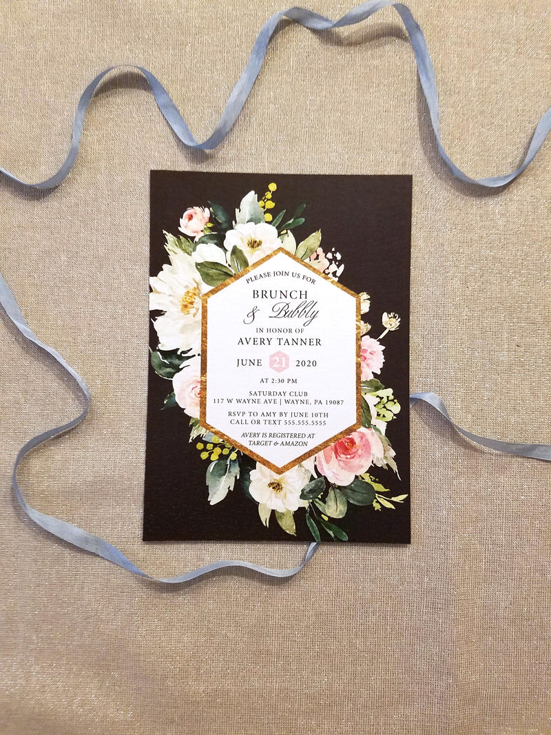 Blush and Gold Brunch and Bubbly Bridal Shower Invitation