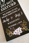 Black and White Flower Do Not Disturb Door Hanger