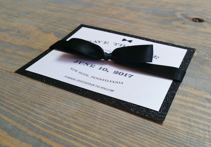 Black Glitter Bow Tie Save the Date