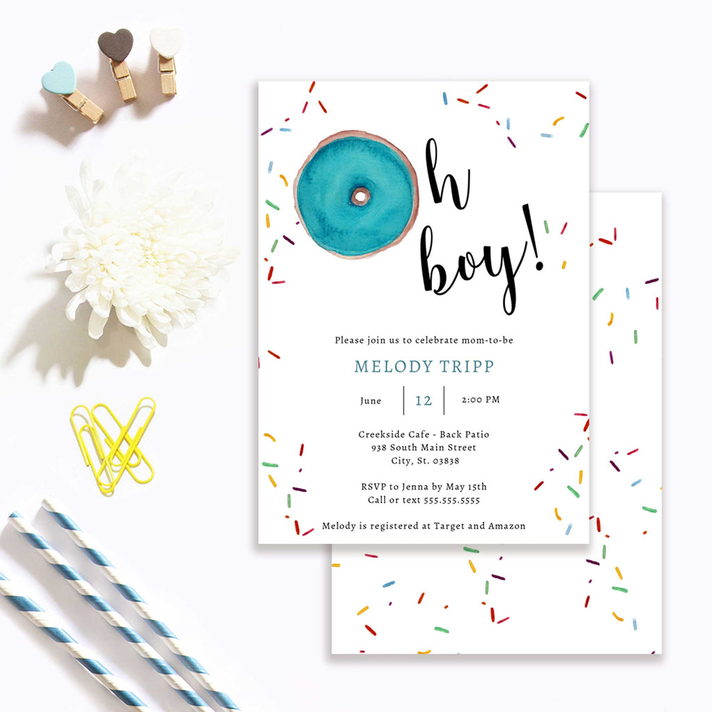 Blue Oh Boy Donut Baby Shower Invitation
