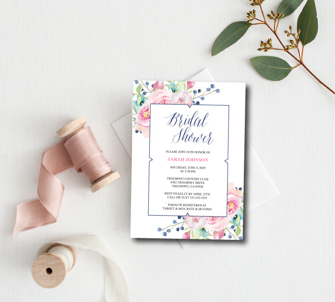Pink & Blue Floral Bridal Shower Invitation