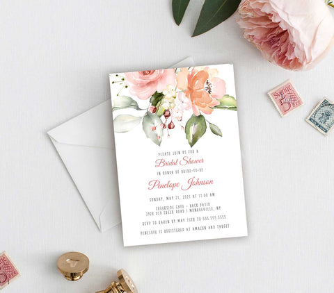 Peach and Greenery Bridal Shower Invitation