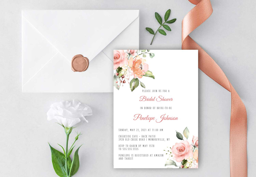 Blush Peach Floral Bridal Shower Invitation