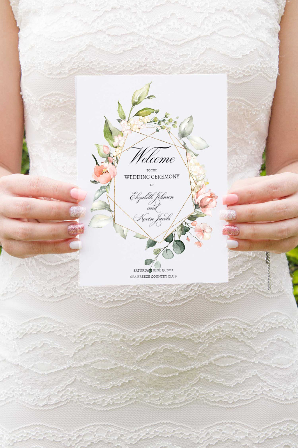 Blush Bouquet and Gold Geometric Wedding Program Booklet