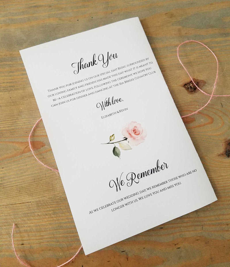Blush Greenery Bouquet Wedding Program Booklet