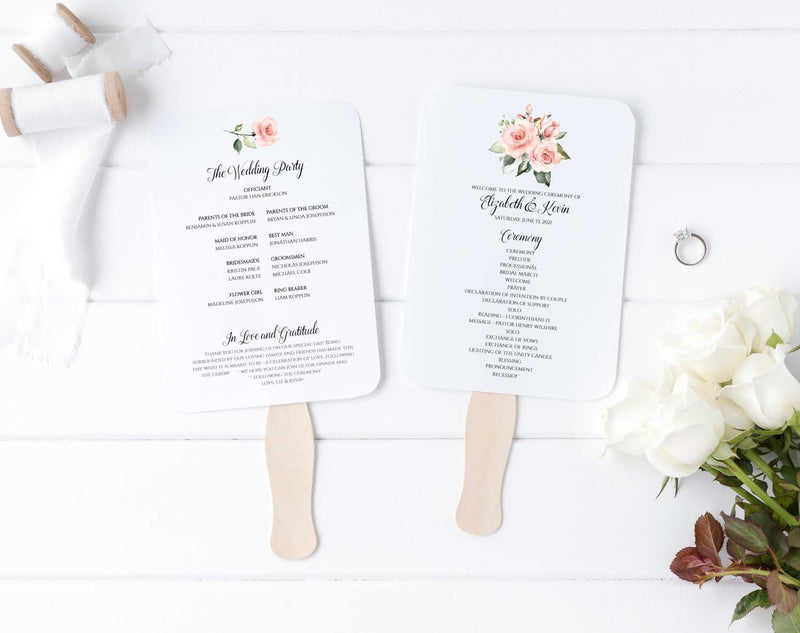 Sunny Blush Bouquet Wedding Program Fan