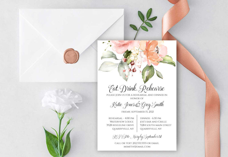 Large Peach Greenery Bouquet Rehearsal Invitation