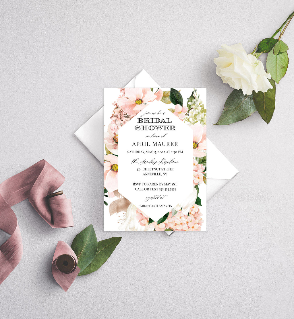 Blush Dew Geometric Frame Bridal Shower Invitation