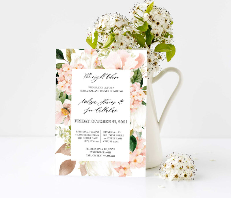 Blush Hydrangea Frame Rehearsal Dinner Invitation