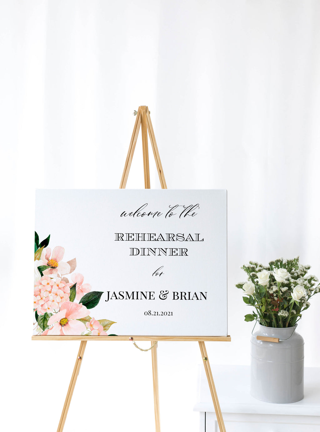 Blush Hydrangea Printable Wedding Rehearsal Welcome Sign