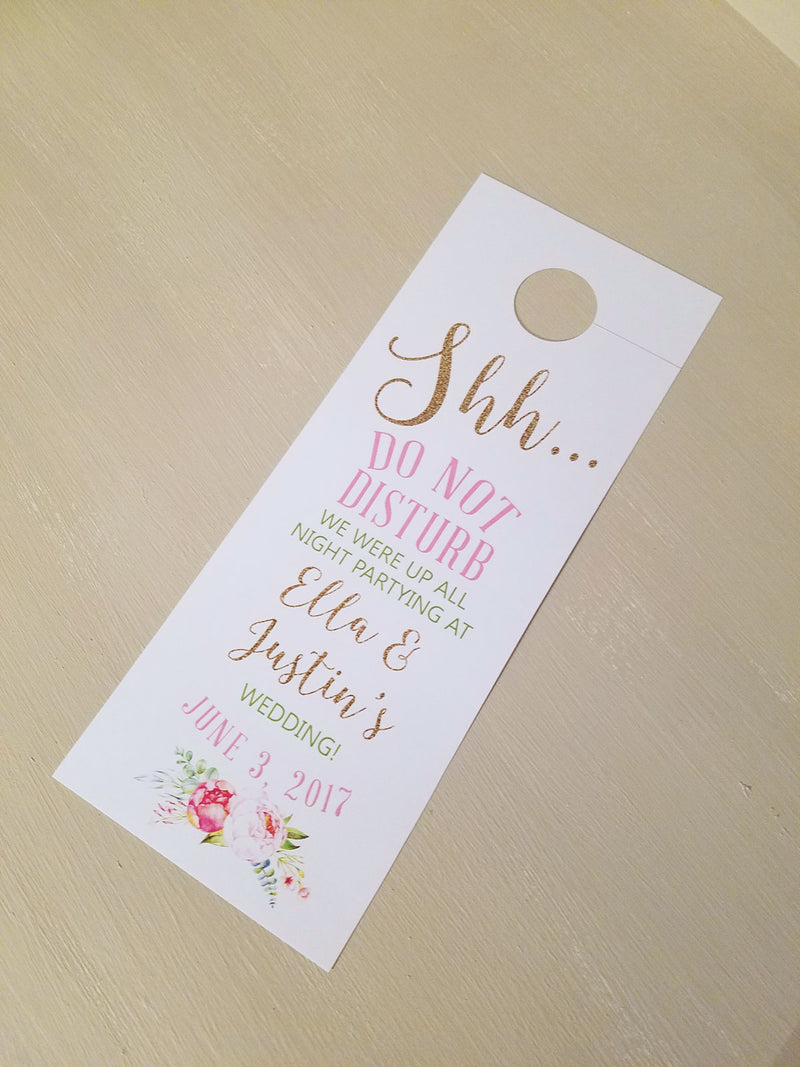 Blush and Gold Do Not Disturb Door Hanger