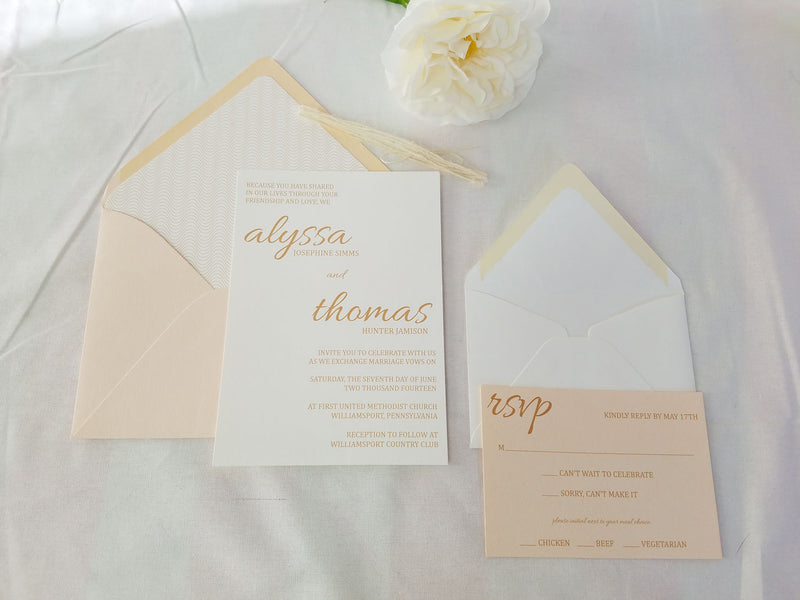 Delicate Blush Pink and Gold Wedding Invitation Suite