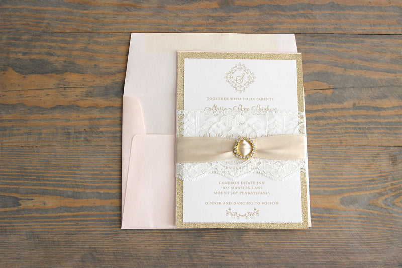 Blush & Gold Rhinestone & Lace Pocket Wedding Invitation Suite