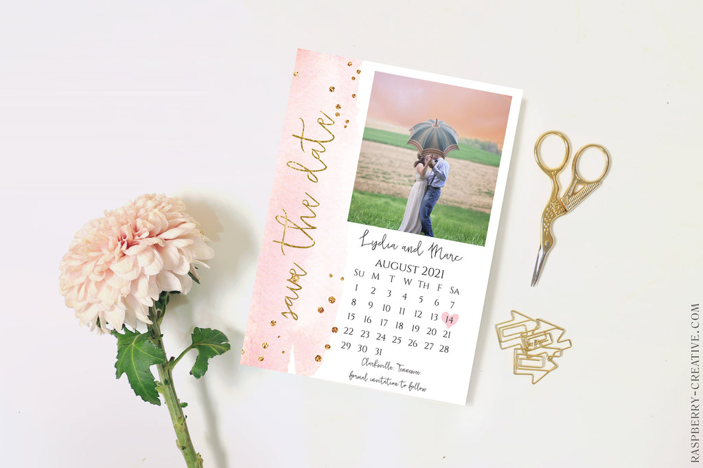 Blush and Gold Calendar Photo Save the Date Card