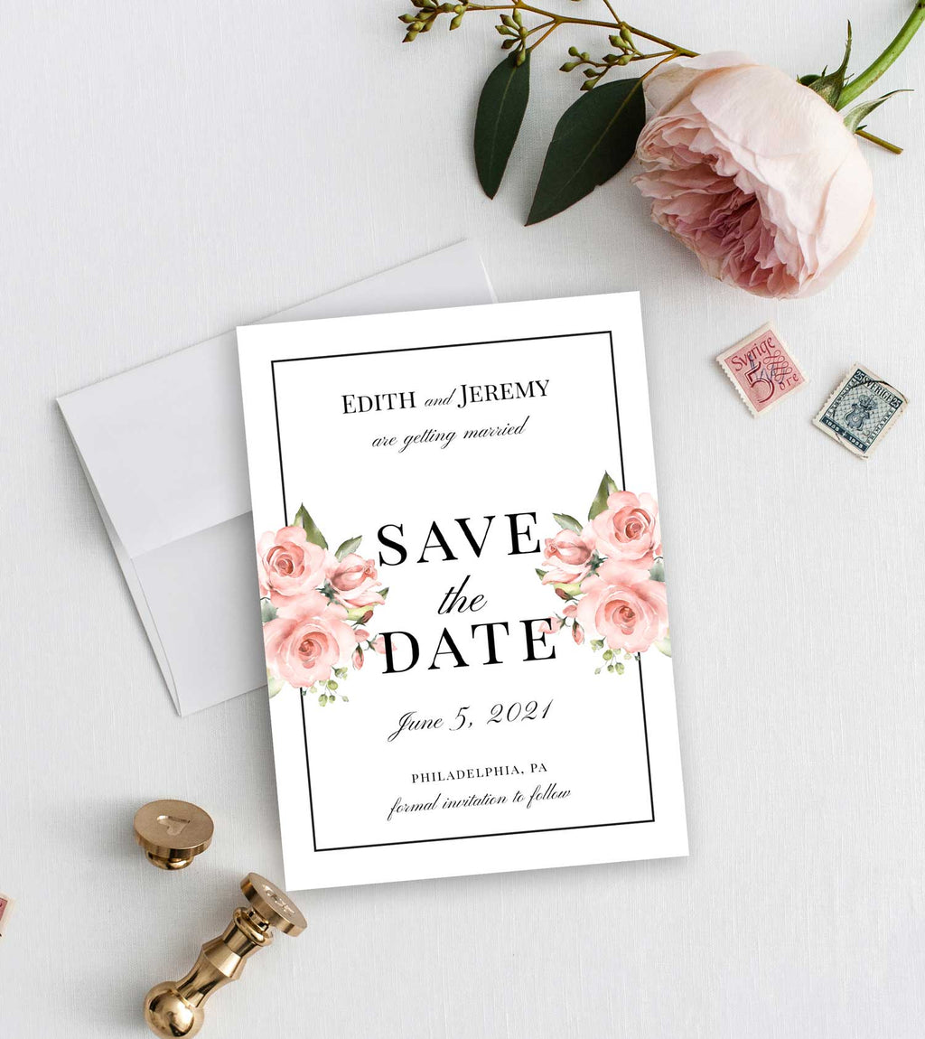 Blush Greenery Border Save the Date Card