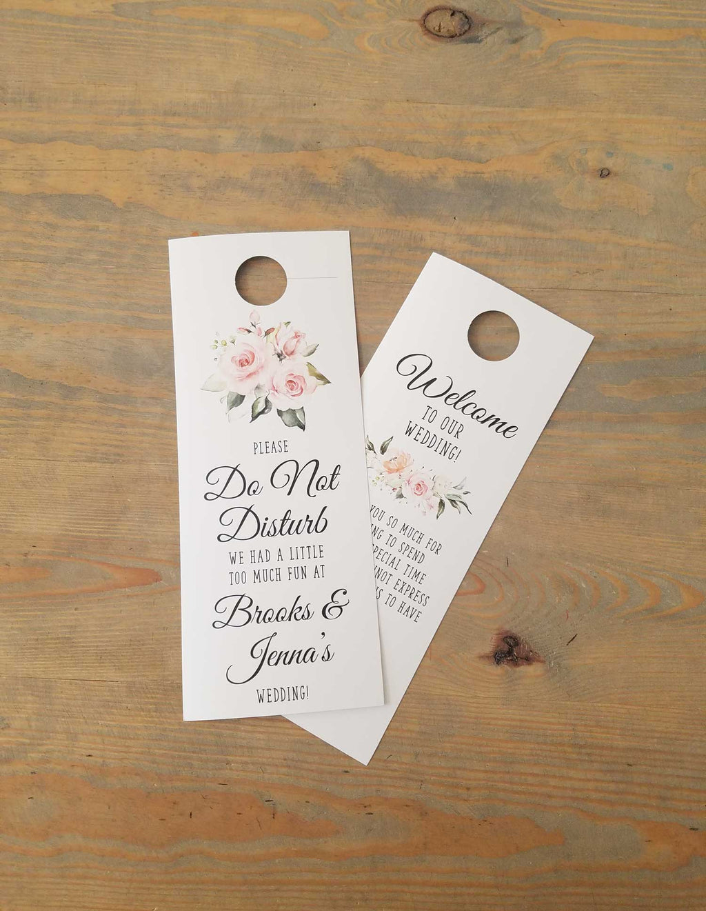 Blush and Greenery Bouquet Do Not Disturb Door Hanger