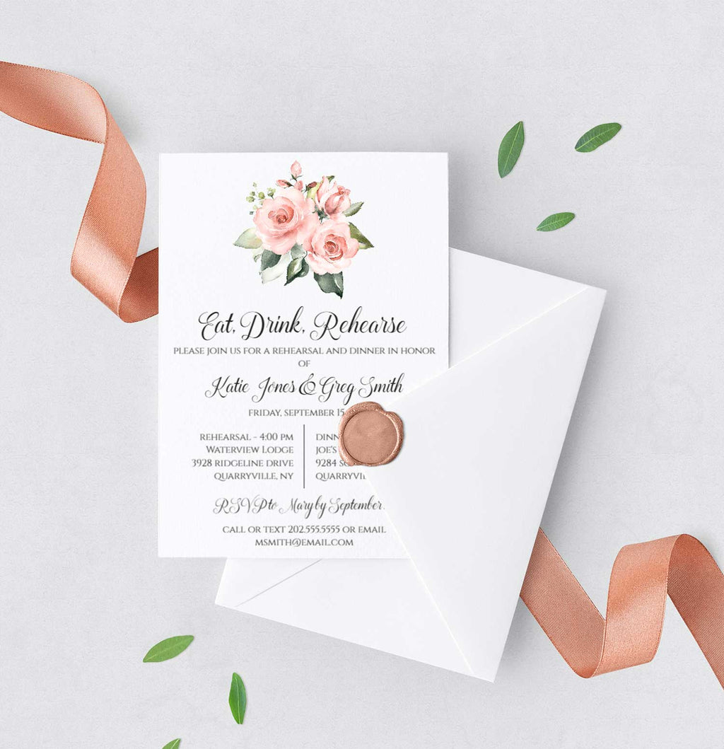 Blush Greenery Bouquet Rehearsal Invitation