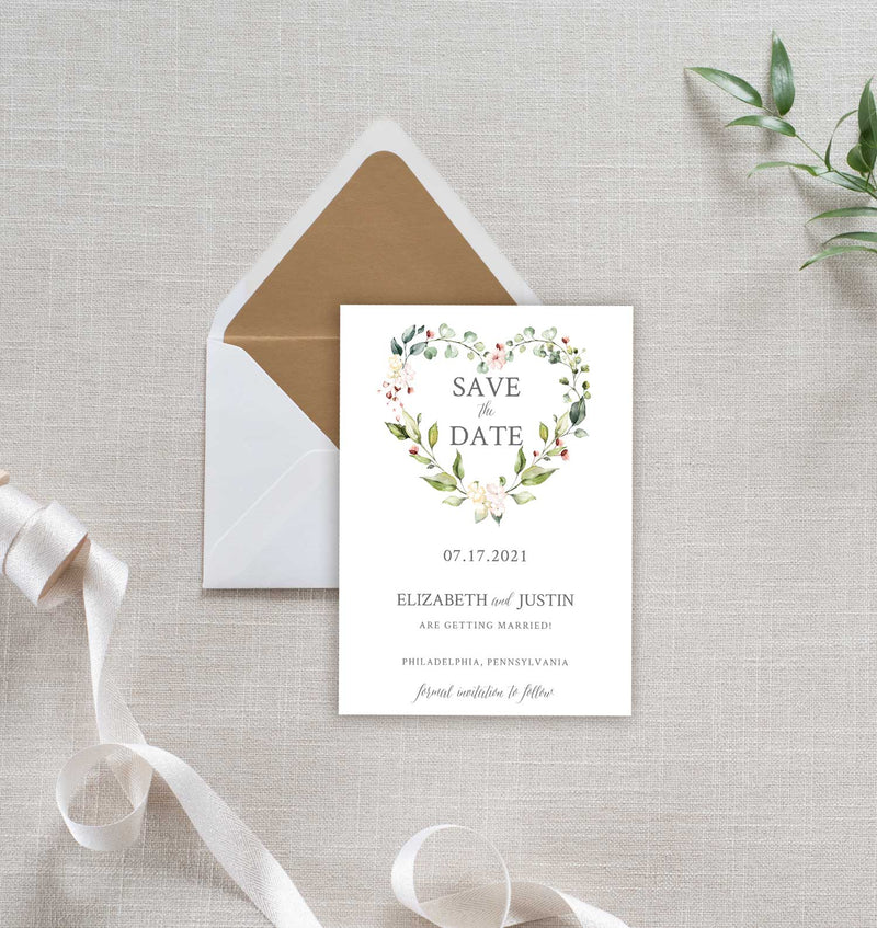 Heart Wreath Save the Date Card