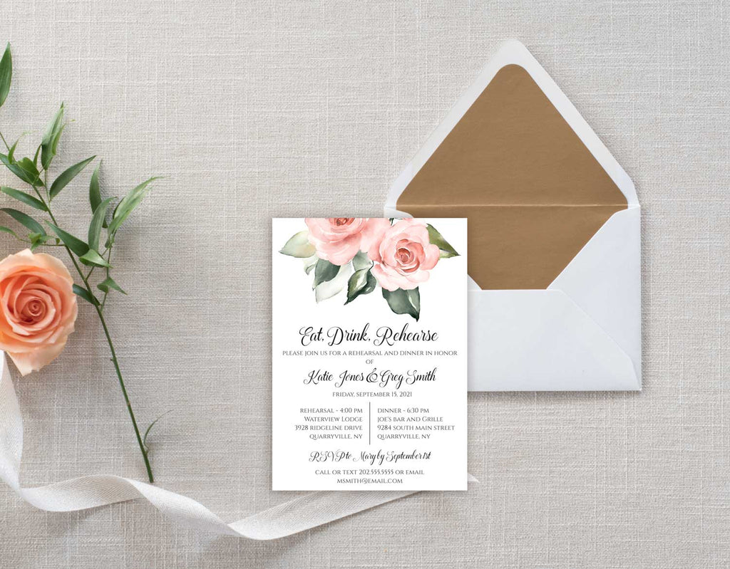 Large Blush Greenery Bouquet Rehearsal Invitation