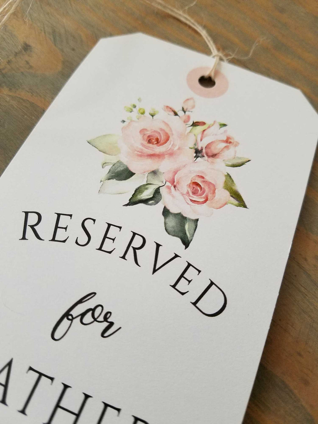 Blush Roses and Greenery Bouquet Reserved Seating Tags