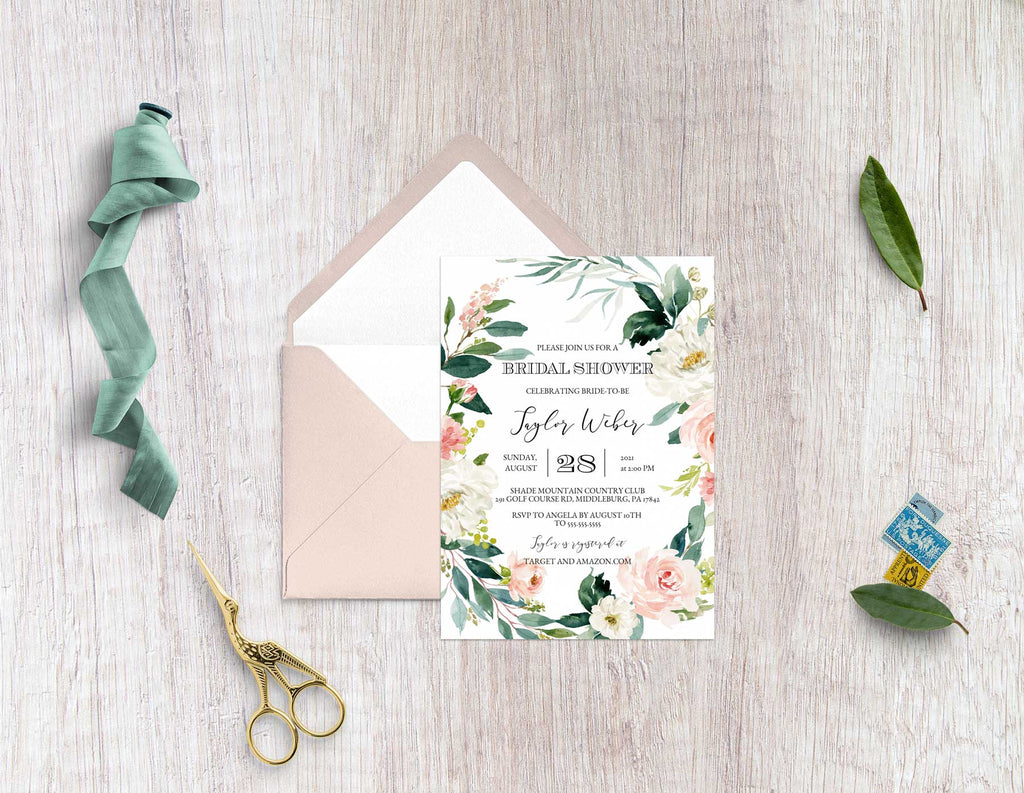 Etherial Blush Bridal Shower Invitation