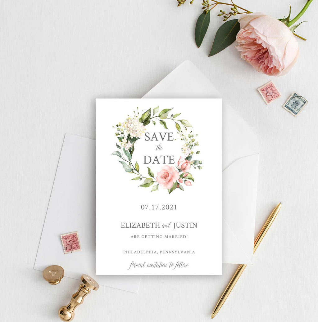 Blush and Greenery Wreath Save the Date Card