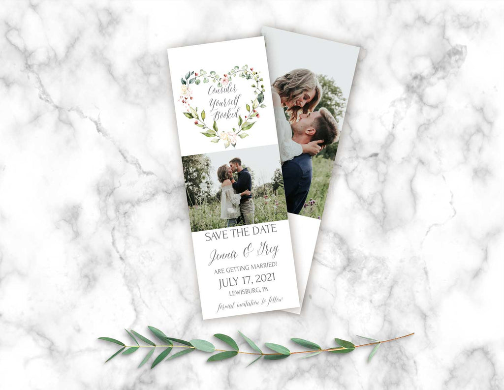 Heart Wreath Save the Date Bookmark