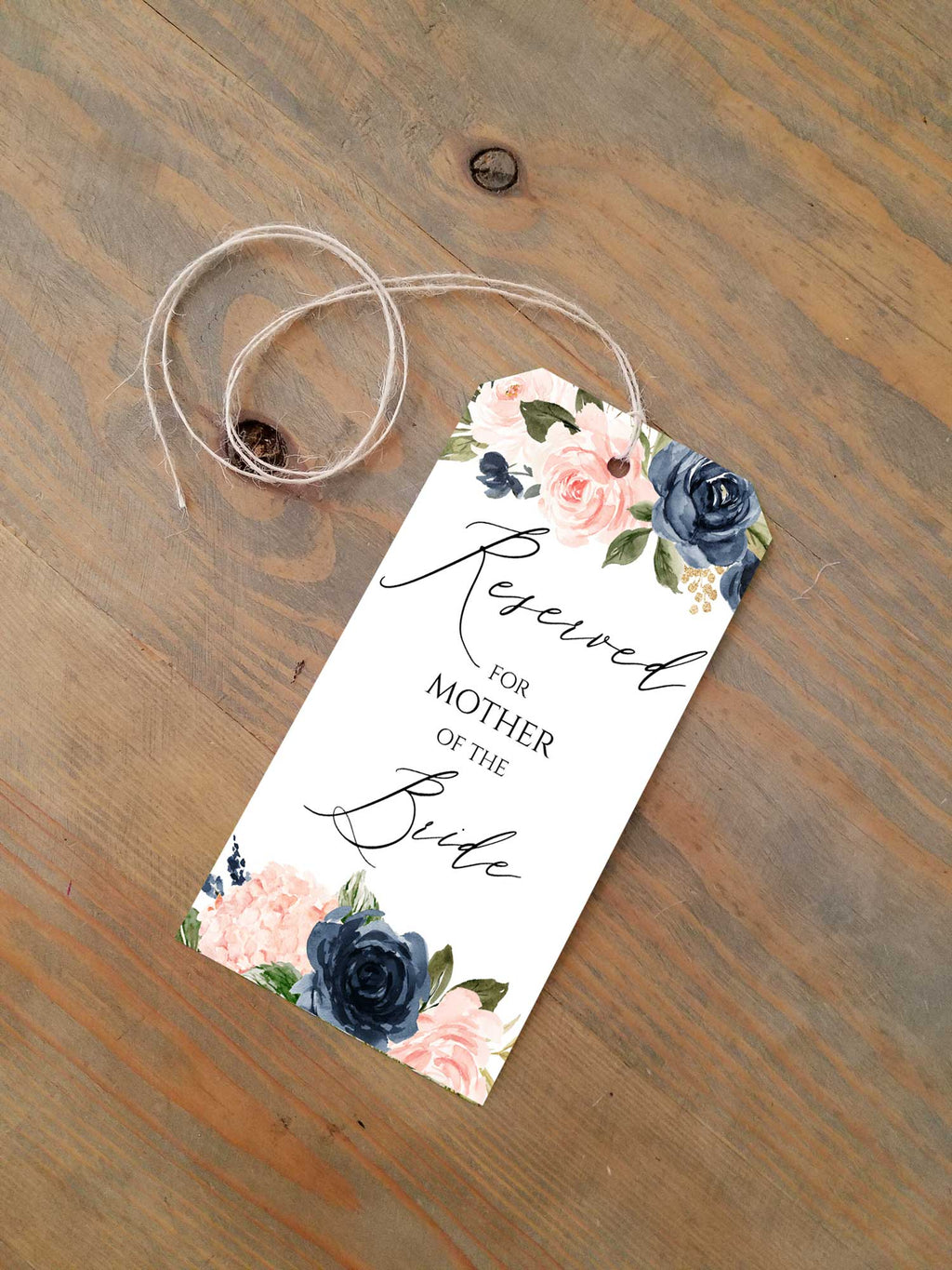 Blush and Navy Blue Flowers- Reserved Seating Tags