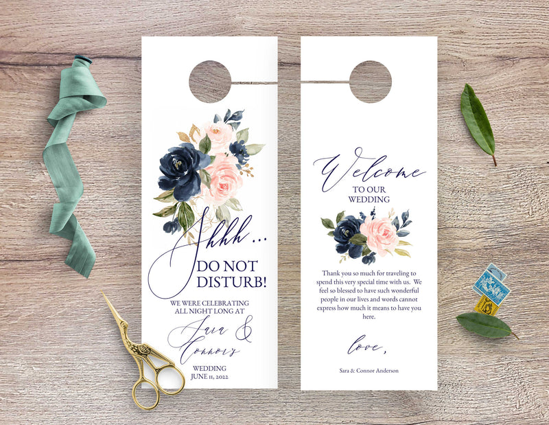 Blush Pink and Navy Wedding Door Hanger