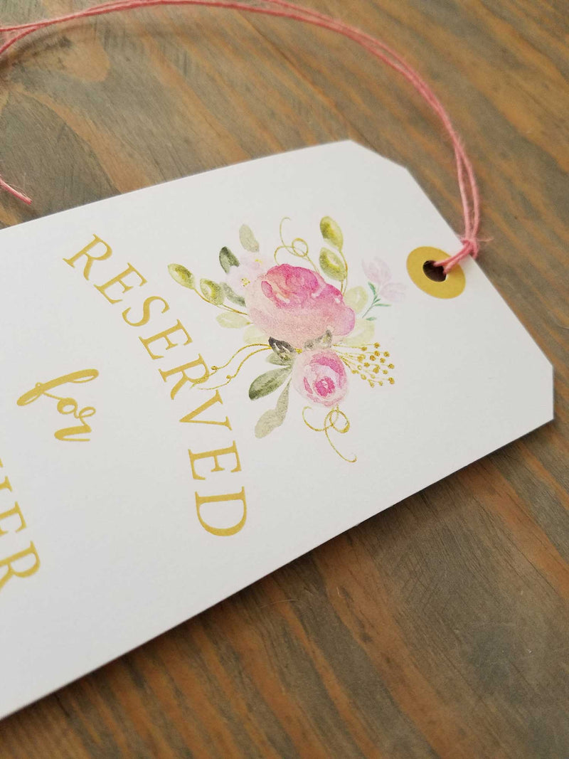Blush and Gold Reserved Seating Tags