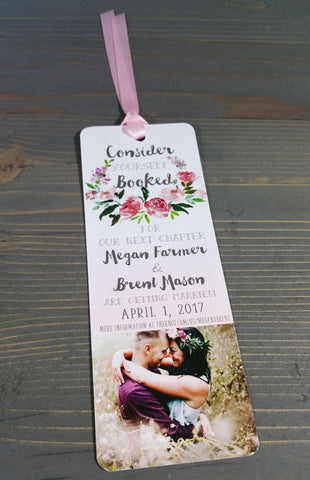 Blush Pink Floral Wreath Save the Date Bookmark Card and Envelope